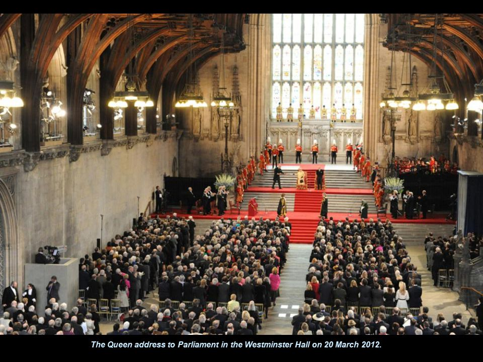 The Queen address to Parliament in the Westminster Hall on 20 March 2012.