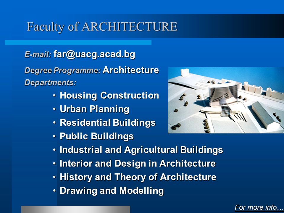 Faculty of STRUCTURAL ENGINEERING E-mail of Dean: dean_fce@uacg.acad.bg E-mail of Secretary: sec_fce@uacg.acad.bg E-mail of Office: can_fce@uacg.acad.bg Degree Programme: Structural Engineering Departments: Steel, Timber and Plastic StructuresSteel, Timber and Plastic Structures Reinforced Concrete StructuresReinforced Concrete Structures Structural MechanicsStructural Mechanics Building Materials and InsulationsBuilding Materials and Insulations Construction Technology and Building MechanisationConstruction Technology and Building Mechanisation Construction Organisation and EconomicsConstruction Organisation and Economics Computer-Aided EngineeringComputer-Aided Engineering For more info… For more info…