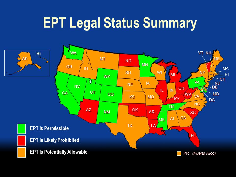 Conclusions  The assessment challenges the perception that laws may be impede the practice of EPT  In states where EPT is assessed as prohibited or possible, simple legislative, regulatory, or administrative fixes could permit its practice  Specific legal reforms may include statutory bills (in a few jurisdictions), administrative regulations, incorporation by reference of CDC STD Treatment Guidelines (2006), or favorable medical or pharmaceutical board interpretations