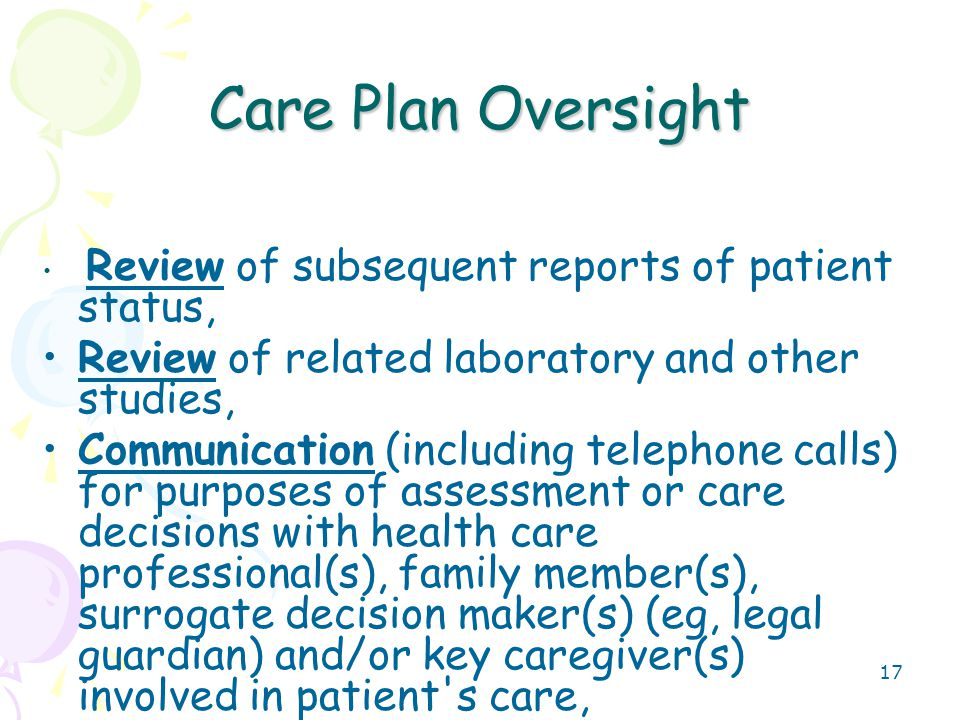 18 Care Plan Oversight 99339Individual physician supervision of a patient (patient not present) in HOME, domiciliary or rest home (eg, assisted living facility) 15-29 minutes- Calendar Month 9934030 minutes or more