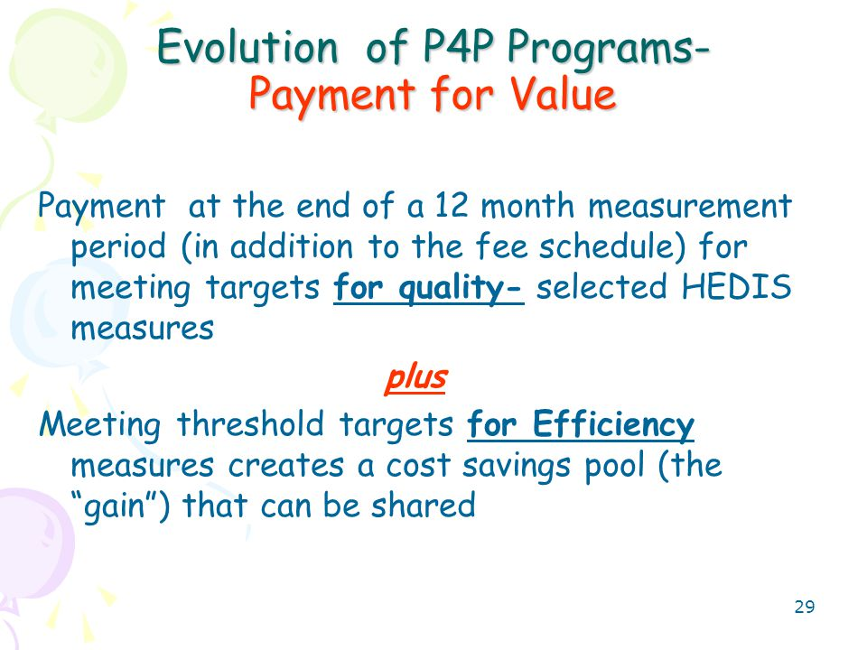 30 Evolution of P4P Programs- the Present and near future Example- 500 patients under one payer- Quality Scores 1.