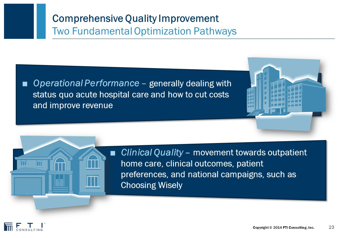Comprehensive Quality Improvement: Time, Complexity, & Difficulty Value, Risk & Reward V Operational Performance Optimization Revenue – Revenue Integrity Labor – Span of Control, HR Supplies – Standardization & Utilization Tech – EHR Optimization Clinical – LOS, Utilization, Variability Physicians - Enterprise & CARTS Revenue – AR & Billing Labor – Benchmarking Supplies – GPOs & Pricing Tech – HIS + Bolt-ons Clinical – Effectiveness Revenue – Patient Access, Denials Labor - Process Innovation Supplies – Purchased Services Tech – EHR Implementation Clinical – Value-Based Purchasing (e.g., Readmissions) Revenue – Call Center, Hospital & Physician Integration Labor – Shared Services Supplies – Strategic Relationships Tech – Business Intelligence Clinical – Integration/ Risk Contracting/ Population Health, Reinventing Care Delivery Physicians – Network Development Scale - Merger/ Integration Culture – Learning Organization, Patient Empowerment 24 Copyright © 2014 FTI Consulting, Inc.