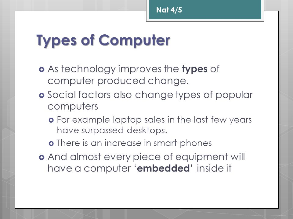 Different Types of Computer  For each type of system you need to identify:  The features of the computer system, a purpose for each system, advantages and disadvantages for each system.