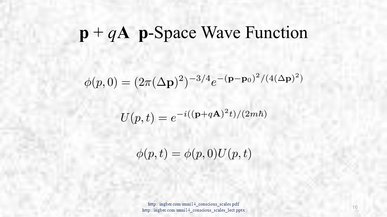 p + qA r-Space Wave Function http://ingber.com/smni14_conscious_scales.pdf http://ingber.com/smni14_conscious_scales_lect.pptx 17