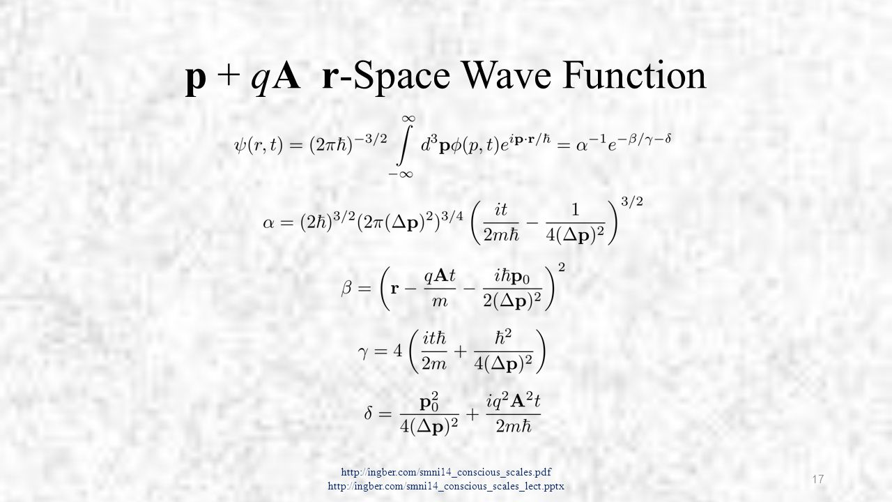 Quantum Effects in r-Space A influences real part of wave function ψ in r-space Not Aharonov-Bohm effect (phase of ψ) Note r → r – q A t / m If persisted100 ms → displacement of 10 −3 m = mm (macrocolumn) Synaptic extent (not gap ~ nm) ~ 10 4 Å (Å = 10 −10 m) = µm http://ingber.com/smni14_conscious_scales.pdf http://ingber.com/smni14_conscious_scales_lect.pptx 18