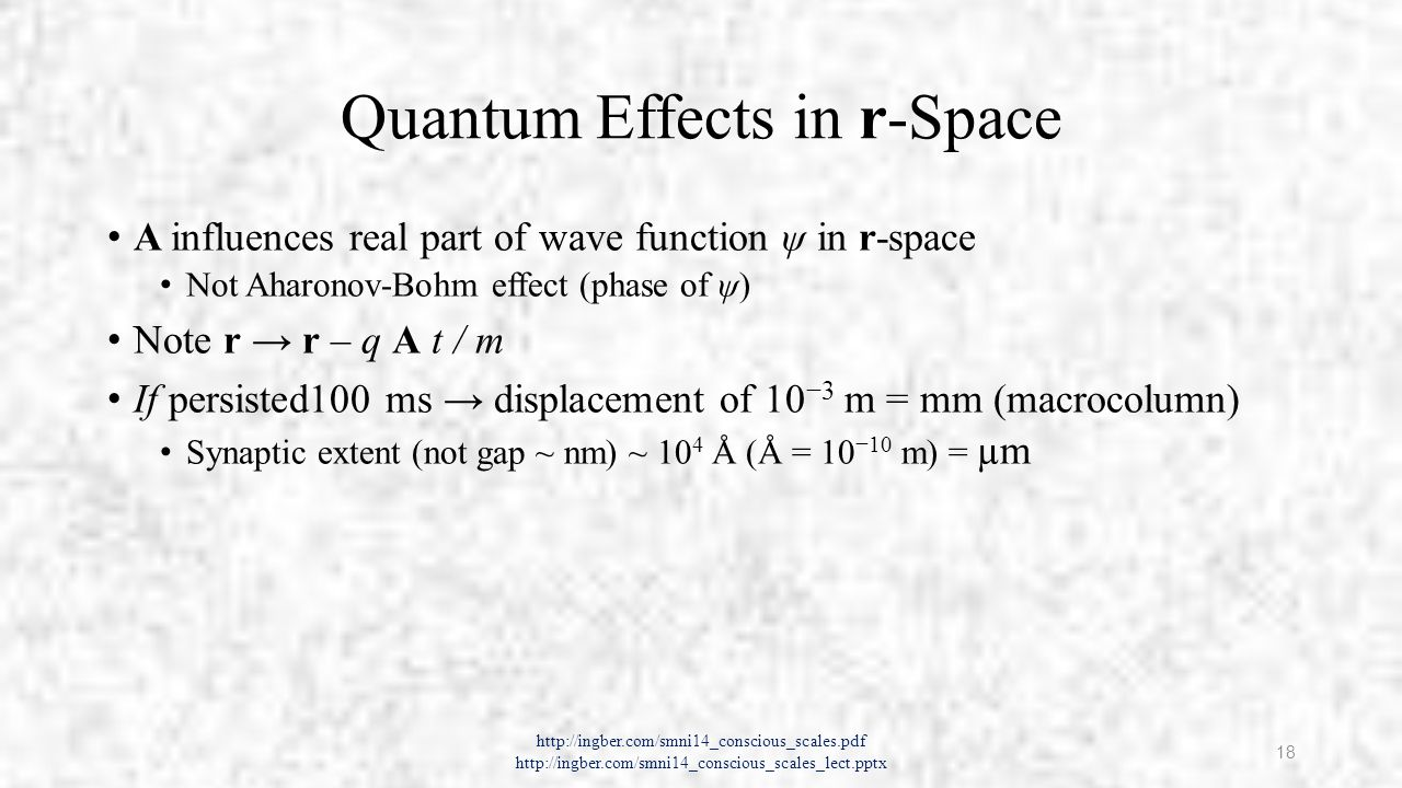 Possible Long Time Quantum Coherence Several examples of extended quantum coherence in wet media Bang-bang (BB) kicks or quantum Zeno effect (QZE) A mechanism sometimes used in quantum computation Regenerative Ca 2+ process is a possible mechanism for coherence http://ingber.com/smni14_conscious_scales.pdf http://ingber.com/smni14_conscious_scales_lect.pptx 19