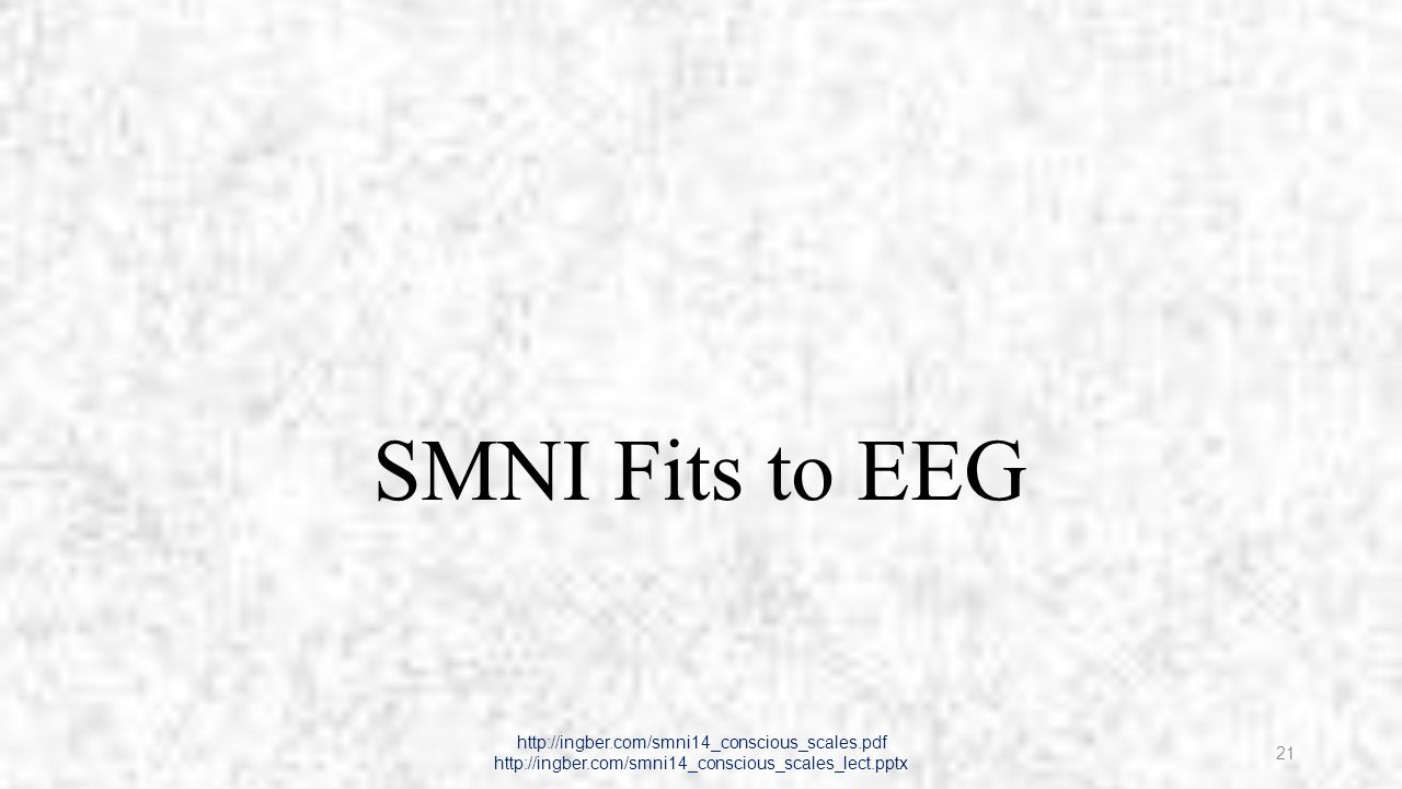 Synaptic Interactions -> Neuron Firing http://ingber.com/smni14_conscious_scales.pdf http://ingber.com/smni14_conscious_scales_lect.pptx 22