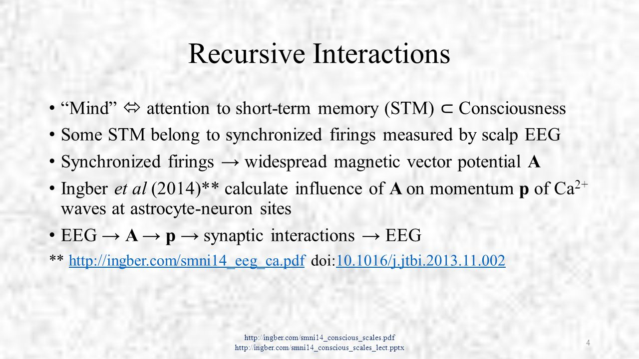 Scales of Neocortical Interactions http://ingber.com/smni14_conscious_scales.pdf http://ingber.com/smni14_conscious_scales_lect.pptx 5