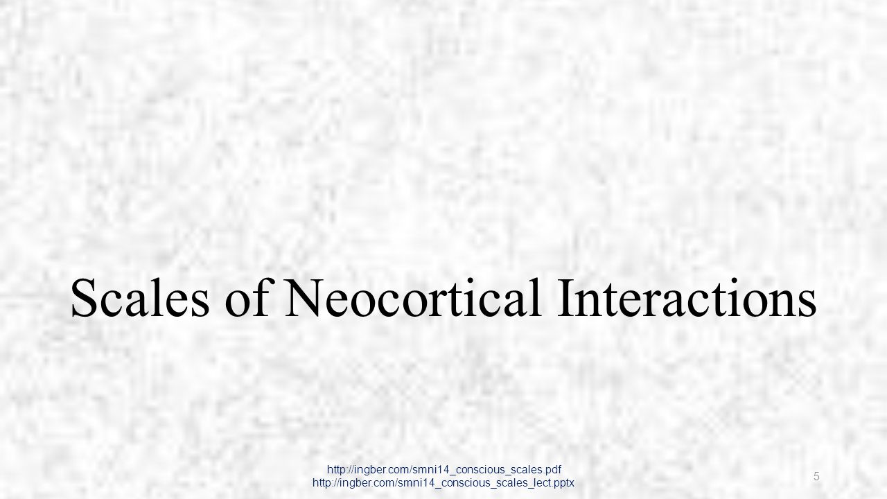 Neuronal Scales of Neocortical Interactions http://ingber.com/smni14_conscious_scales.pdf http://ingber.com/smni14_conscious_scales_lect.pptx 6