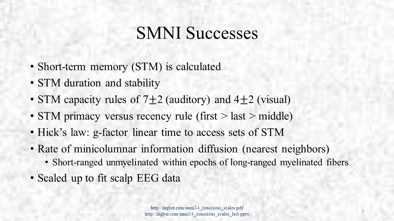 Coding of Neuronal Information Firing patterns among neurons Assumed by SMNI since 1980 Recent experimental confirmation Synfire synchronized firings in laminae Astrocytes (a class of glial cells) Paramagnetic and diamagnetic encoding Quantum-mechanical encoding in microtubules Etc.