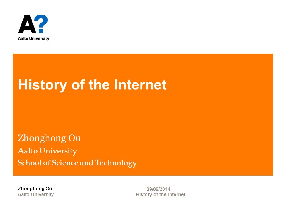 Agenda Prehistory of the Internet History of the Internet-first decade Growth and development of the Internet Zhonghong Ou 2 History of the Internet