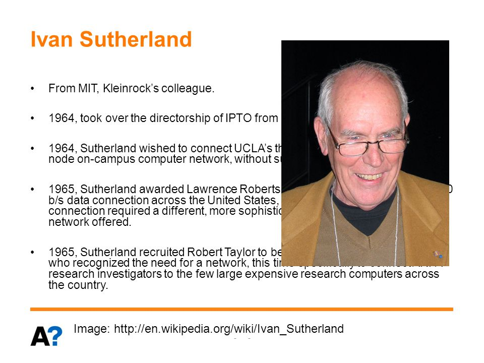 Robert Taylor & Lawrence Roberts 1966 August, Taylor succeeded Sutherland as IPTO director.