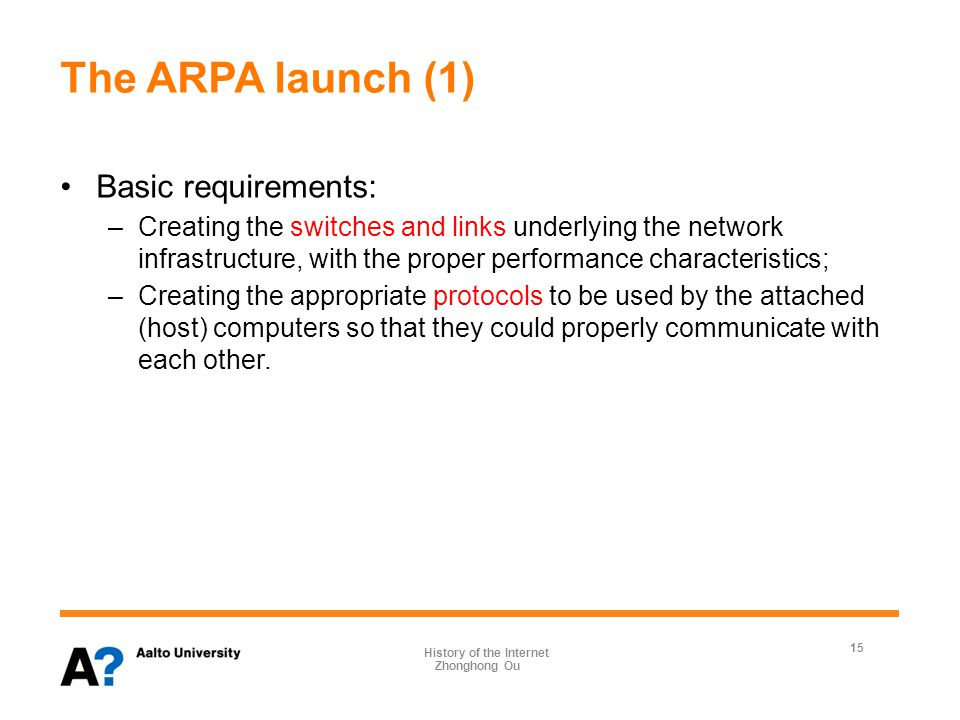 The ARPA launch (2) 1967 April, Roberts called a meeting of the ARPA Principal Investigators (PIs) at the University of Michigan, where the basic specifications for the underlying network were debated.