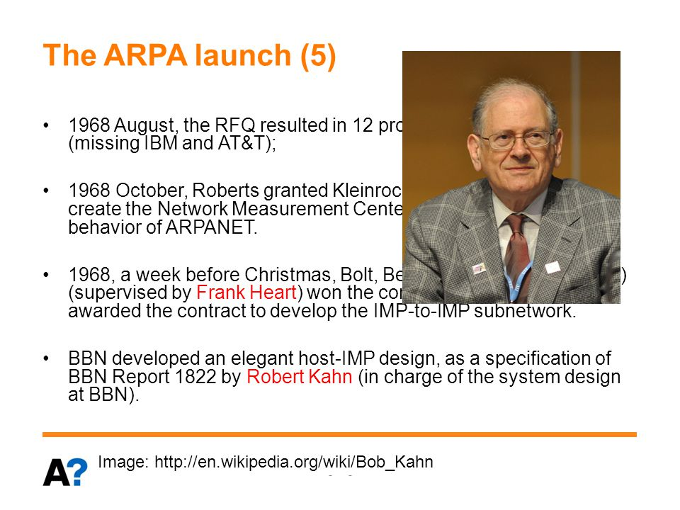 The ARPA launch (6) 1969 Sept., first IMP was delivered to UCLA by BBN.