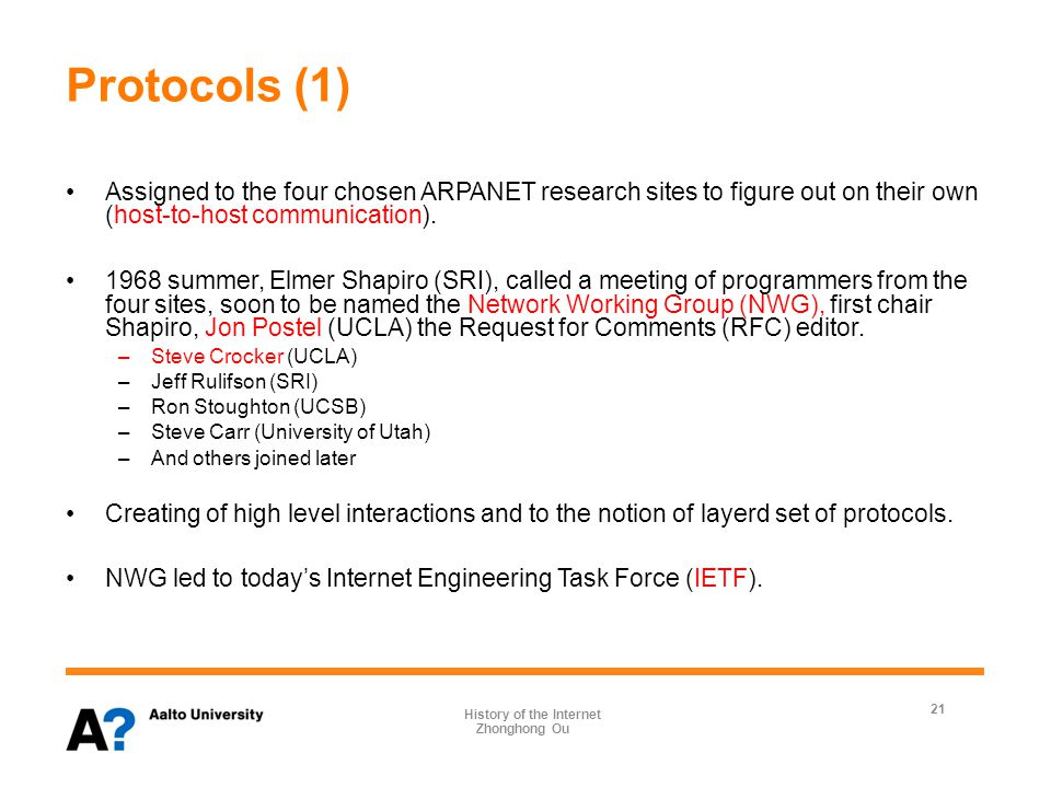 Protocols (2) 1969 April, the first Request for Comments (RFC), entitled Host Protocol, was written by Steve Crocker.