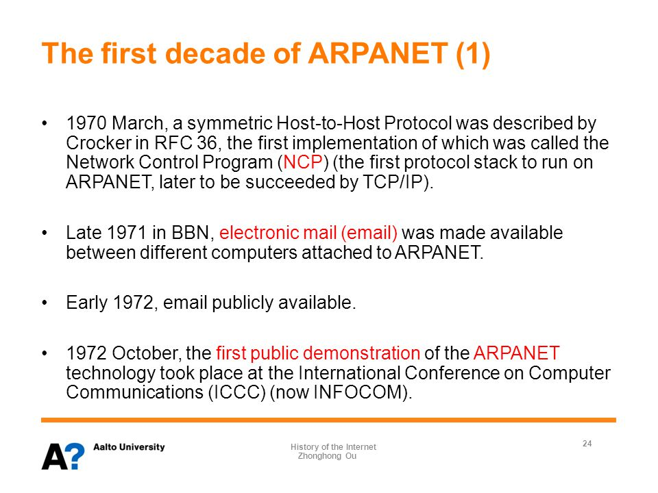The first decade of ARPANET (2) Additional networks were added to the ARPANET, the interconnection of networks was referred to as internetworking during the 1970s, from which the expanded ARPANET was eventually renamed as the Internet.
