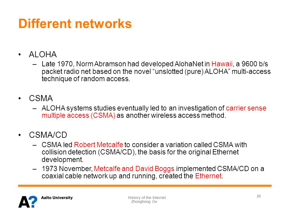 Internetworking 1972 December, an IMP in California used a satellite channel to connect to AlohaNet through an ALOHA host in Hawaii.
