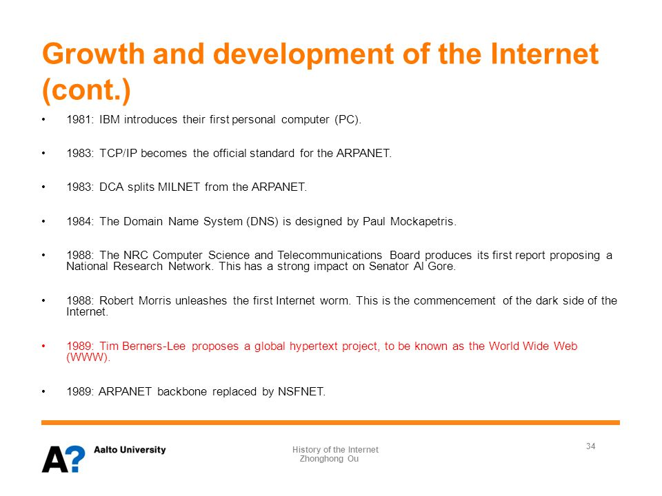 Growth and development of the Internet (cont.) 1991: Tim Berners-Lee makes the first Web site available on the Internet.
