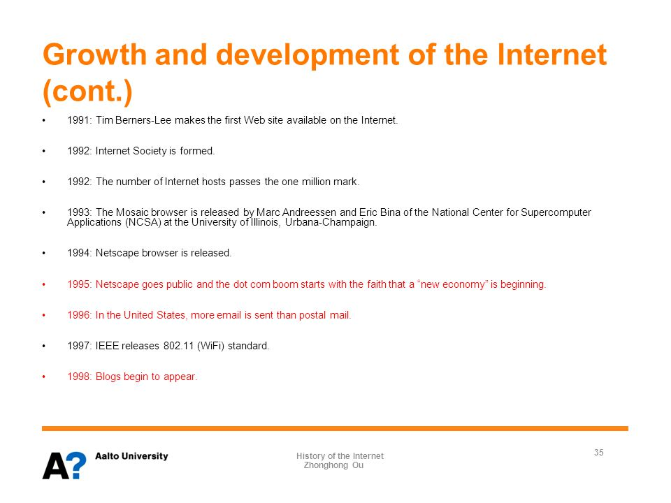 Growth and development of the Internet (cont.) 1999: Napster rolls out.
