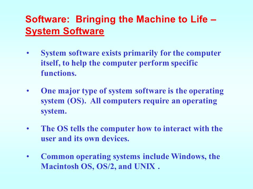 Application software tells the computer how to accomplish tasks the user requires, such as creating a document or editing a graphic image.