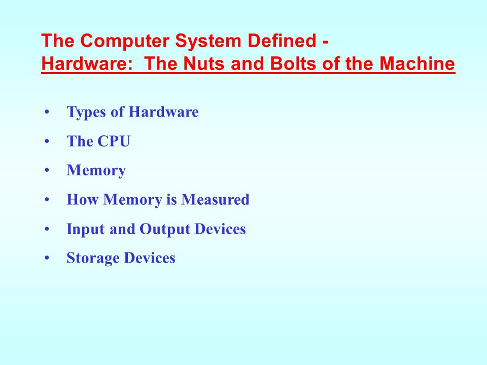 A computer's hardware devices are categorized as follows: Processor Memory Input and Output (I/O devices) Storage devices Hardware: The Nuts and Bolts of the Machine - Types of Hardware