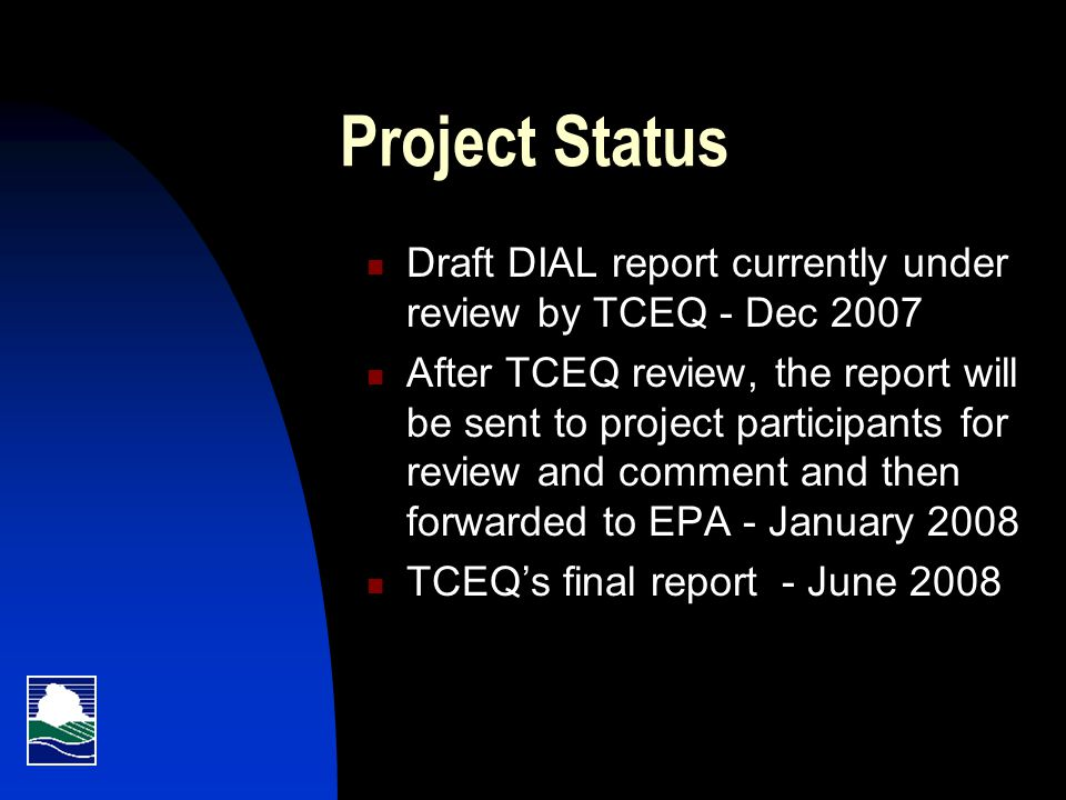Project Funding Total project cost $650,000  $200,000 funded by new technology EPA grant  $450,000 funded by TCEQ