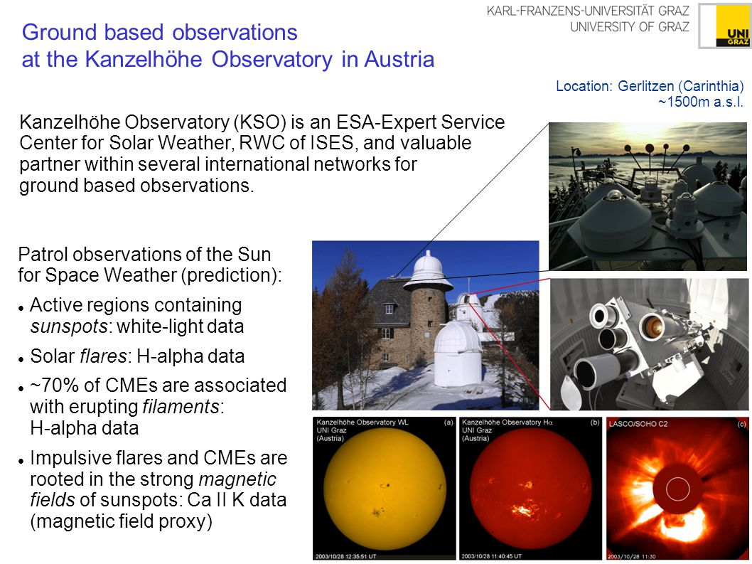 Data products relevant for Space Weather Full disk images are derived 7 days a week (if weather permits).