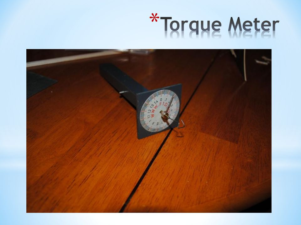 * Wind a thick motor with one end attached to the torque meter * Initially the meter will quickly jump several numbers * Meter will hold steady for a period of time * Meter will quickly jump until the motor breaks * Counting the winds, record at each interval: * Number of winds * Number on the torque meter * Plot on the graph * Repeat the process with a thin motor