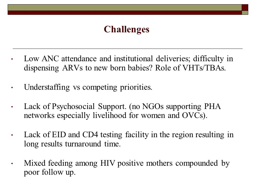 Lessons learnt Increasing incidences of GBV emerging from disclosure of HIV status.