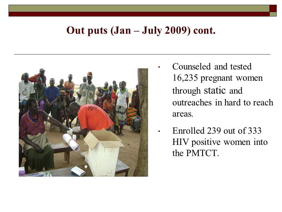 Out puts (Jan – July 2009) cont.