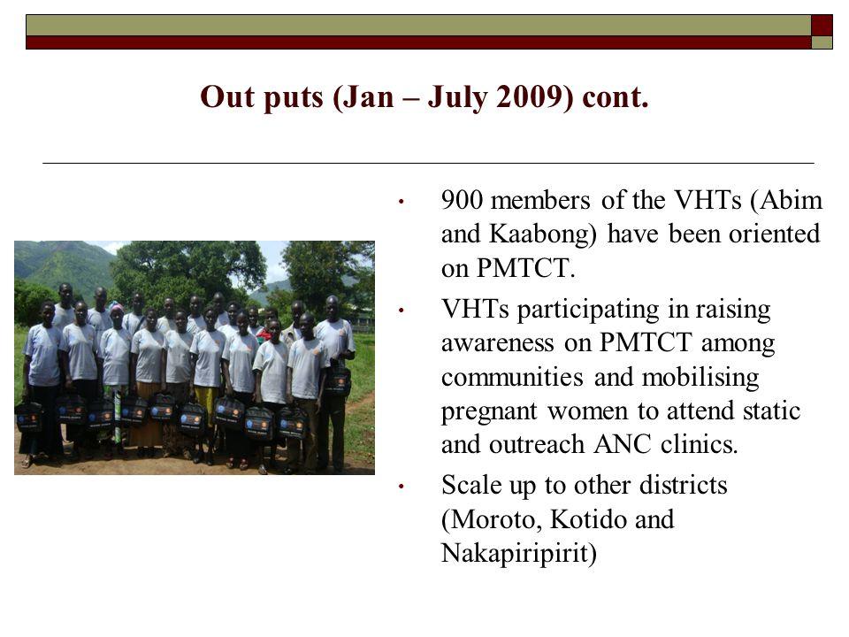 Out puts (Jan – July 2009) cont..
