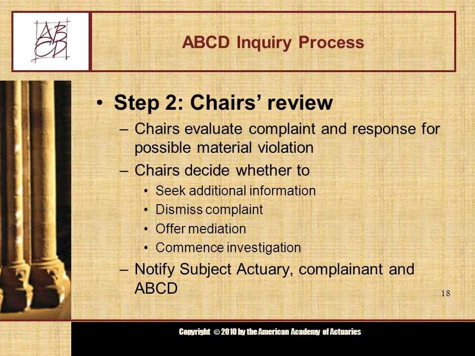 Copyright © 2009 by the Actuarial Board for Counseling and Discipline Copyright © 2010 by the American Academy of Actuaries ABCD Inquiry Process Step 3: Notification –Notify Subject Actuary and complainant, if any, of Chairs' decision –Notify ABCD at next meeting 19