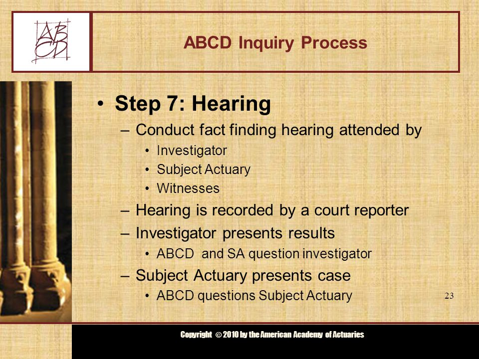 Copyright © 2009 by the Actuarial Board for Counseling and Discipline Copyright © 2010 by the American Academy of Actuaries ABCD Inquiry Process Step 8: Deliberations –ABCD discusses hearing and documents –Decides whether to Dismiss Counsel Recommend discipline Obtain more information, reopen hearing 24