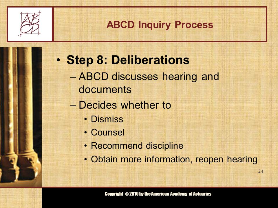 Copyright © 2009 by the Actuarial Board for Counseling and Discipline Copyright © 2010 by the American Academy of Actuaries ABCD Inquiry Process Step 9: Notification –Notify Subject Actuary, complainant and investigator of decision –If discipline is recommended, transmit to appropriate organization(s) Statement of ABCD findings All documents used by ABCD Transcript of hearing 25