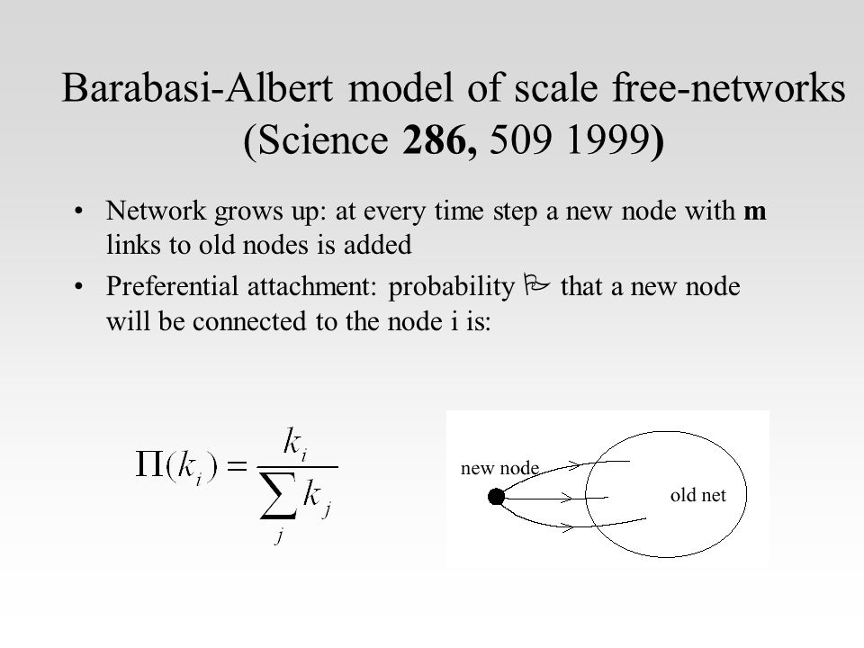 Barabasi-Albert model of scale free-networks (Science 286, 509 1999) Network grows up: at every time step a new node with m links to old nodes is added Preferential attachment: probability  that a new node will be connected to the node i is: