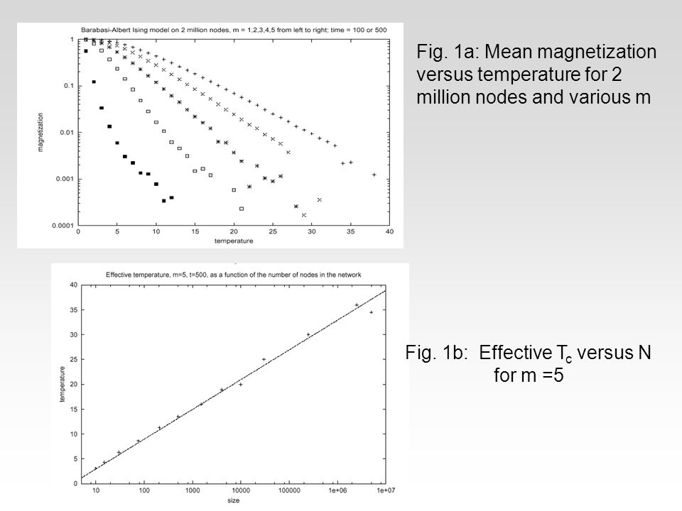 Fig.1a: Mean magnetization versus temperature for 2 million nodes and various m Fig.