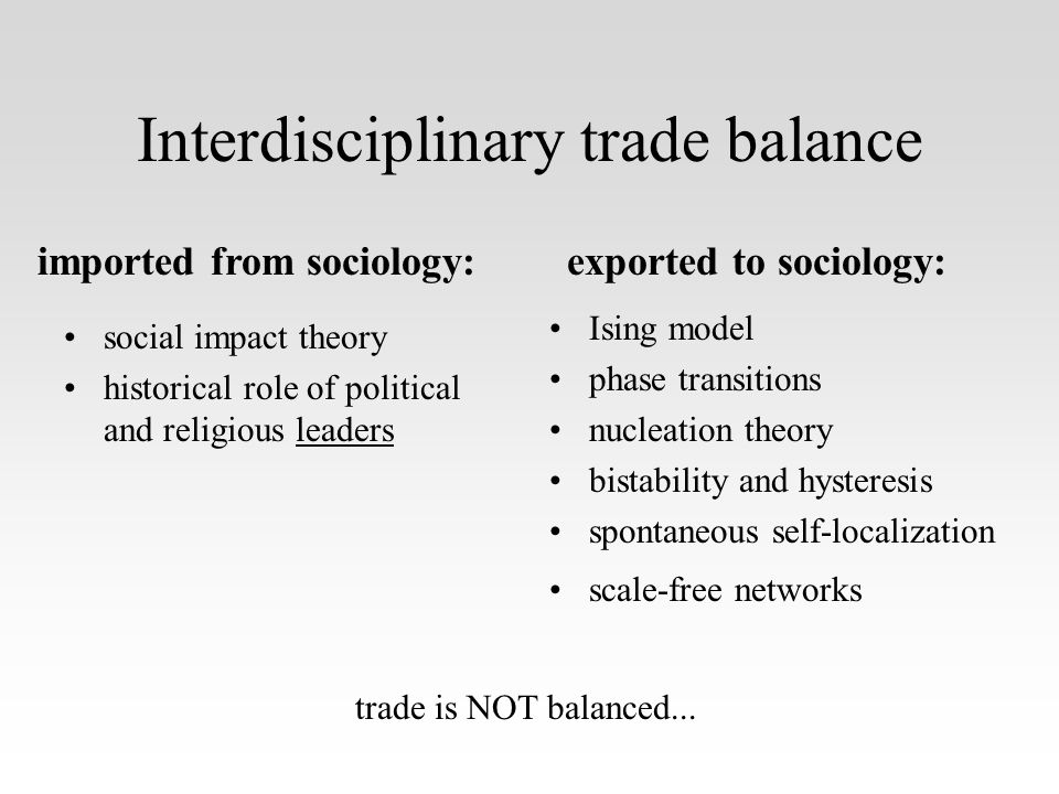 Interdisciplinary trade balance social impact theory historical role of political and religious leaders Ising model phase transitions nucleation theory bistability and hysteresis spontaneous self-localization scale-free networks imported from sociology:exported to sociology: trade is NOT balanced...