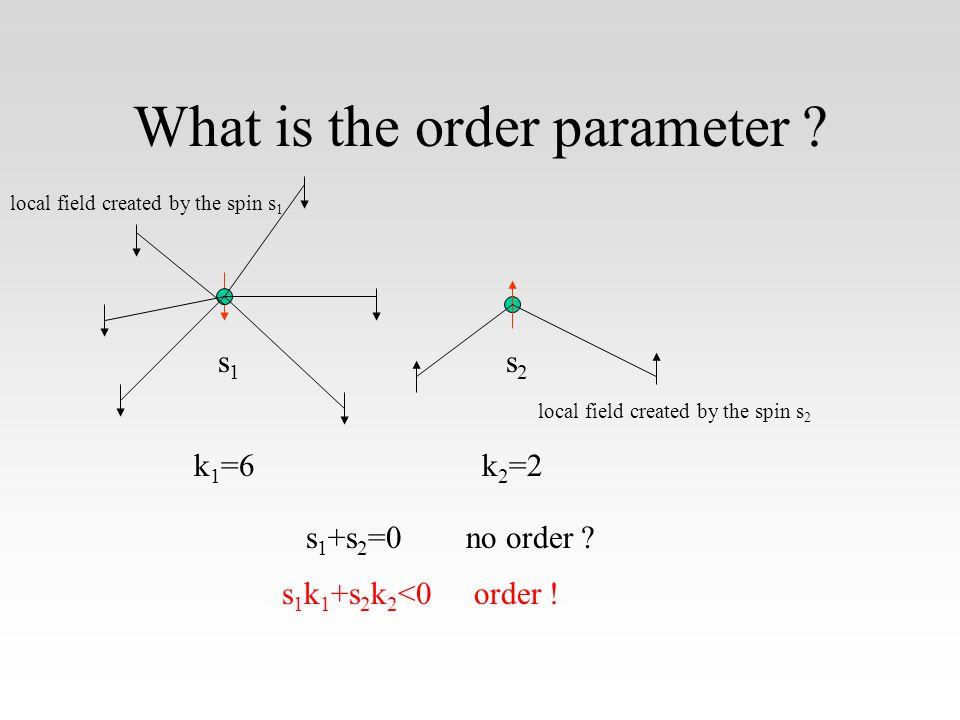 What is the order parameter .k 1 =6k 2 =2 s 1 +s 2 =0 s 1 k 1 +s 2 k 2 <0 s1s1 s2s2 no order .