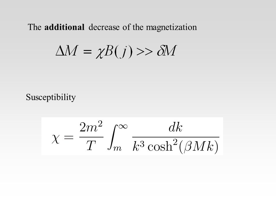 The additional decrease of the magnetization Susceptibility