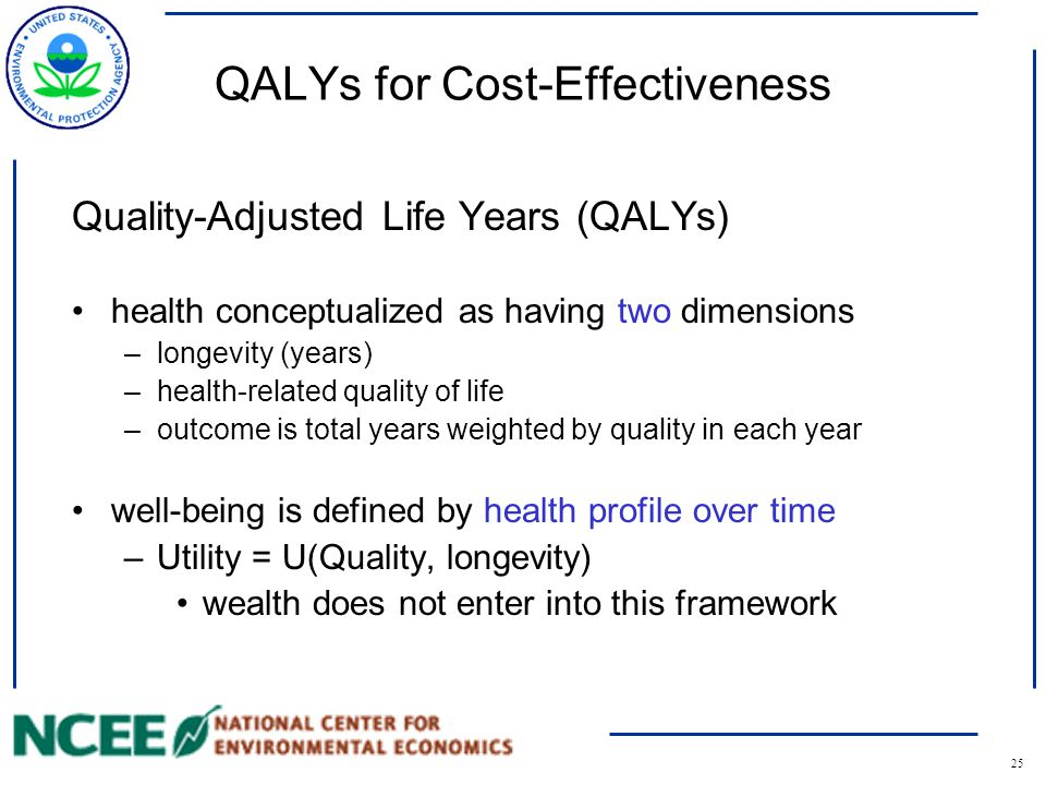 26 Quality-Adjusted Life Years (QALYs) Assume a policy extends the baseline health profile (white) The gain in QALYs is shown in gray –Quality * years at that quality Note the risk assessment requirements: a profile of expected future health outcomes and time in each health state