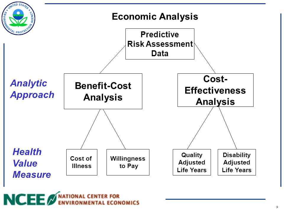 10 Economic Analysis Predictive Risk Assessment Data Cost of Illness Willingness to Pay Quality Adjusted Life Years Disability Adjusted Life Years Cost- Effectiveness Analysis Benefit-Cost Analysis Analytic Approach Health Value Measure