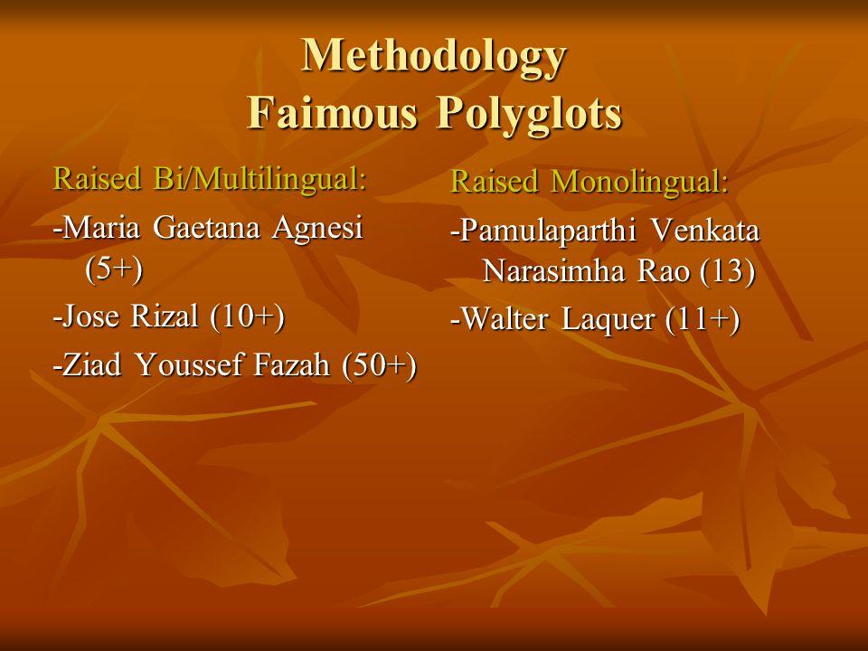 Methodology Incomplete Unknown: -Anthony Burgess -Paul Robeson -Cardinal Giuseppe Caspar Mezzofanti (38 languages, 50+ Dialects)