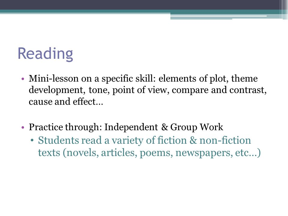 Independent Reading When reading a novel, reading will often be done both in class and at home Written responses and/or notes throughout the week as classwork/homework End of book writing response/activities