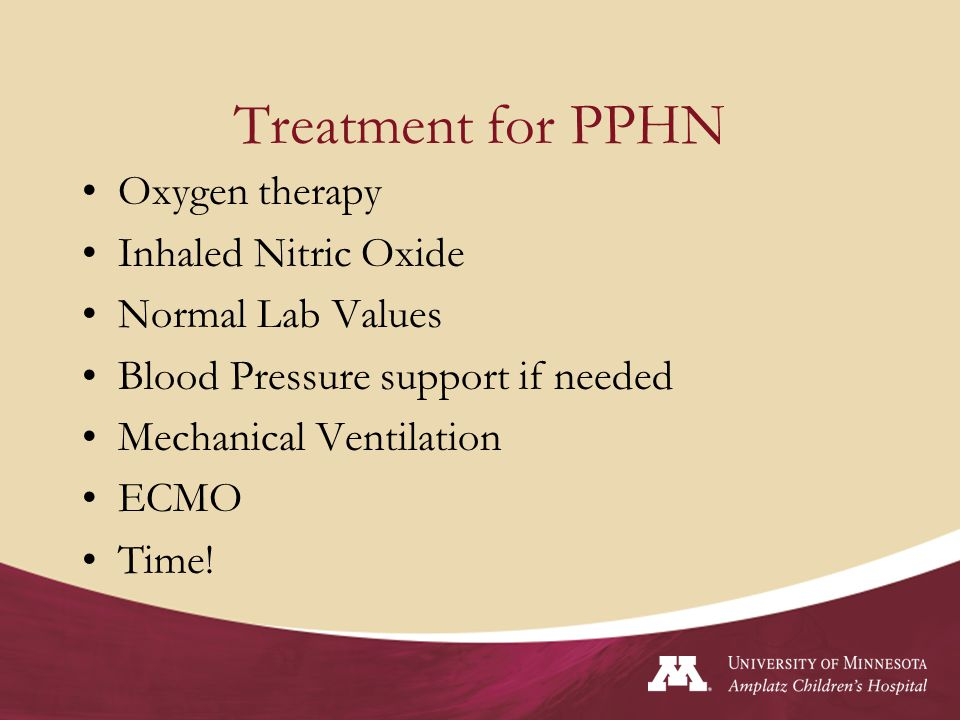 PPHN and ECMO Can be V-A or V-V ECMO Typically a short run (3-5 days) Survival rates greater than 68 % as compared with 40% in infants treated with conventional non- ECMO therapy Patient needs time for the pulmonary vasculature to relax and for the patient's heart is able to pump blood to the lungs