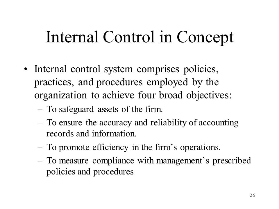 27 Exposure and Risk Internal control shield (Figure 1-4) to protect firms from numerous undesirable events –Attempts at unauthorized access to firm's assets (including information) –Fraud perpetrated by persons both in and outside the firm –Errors due to employee incompetence, faulty computer programs, corrupted input data