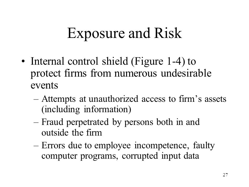 28 Exposure and Risk Internal control shield (Figure 1-4) to protect firms from numerous undesirable events –Mischievous acts, such as unauthorized access by computer hackers and threats from computer viruses that destroy programs and databases