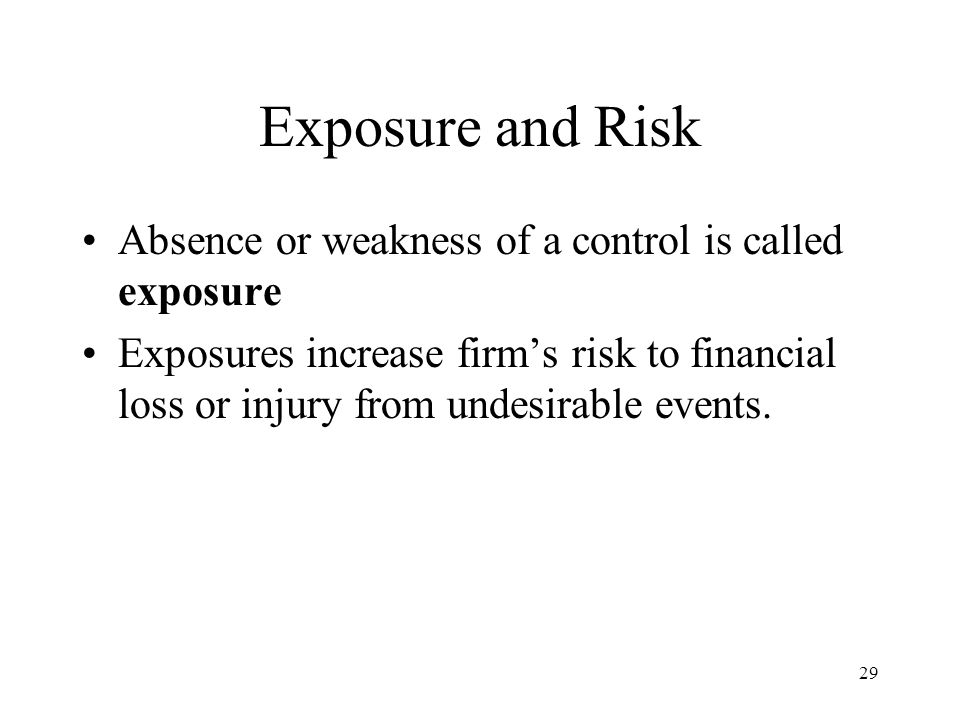 30 Exposure and Risk A weakness in internal control may expose the firm to one or more of the following types of risks: –Destruction of assets (both physical assets and information) –Theft of assets –Corruption of information or the information system (containing errors or alterations) –Disruption of information system (to break or burst; rupture )