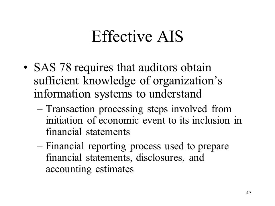 44 Monitoring Process by which quality of internal control design and operation can be assessed May be accomplished by separate procedures or by ongoing activities Internal auditors may monitor entity's activities in separate procedures.