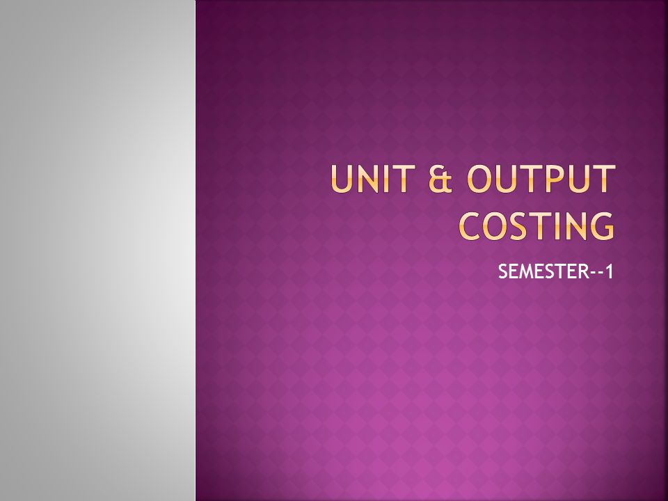  This is a method of calculating cost of production.