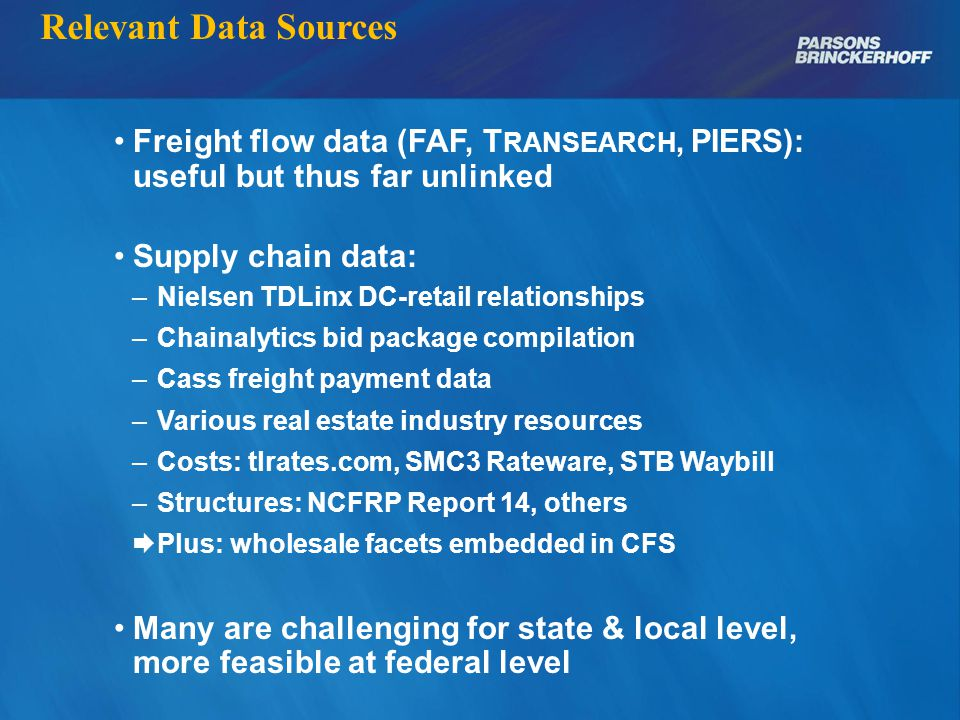 Supply Chain Structures: Linked Flows Source: NHI General enough to be public Good enough to be distinctive Specific enough for transportation purposes  Much less than for logistics management  Complexity can mislead: we need some, not all of it
